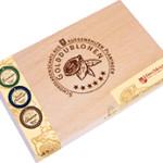 Golddublonen 45 Stück im Holzkästchen Zartbitterschokolade Dreimeister, Ihre Genuss-Agentur