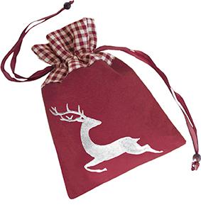 Weihnachtsschokolade Rentier-Filzsäckchen bordeau, Ihre Genuss-Agentur