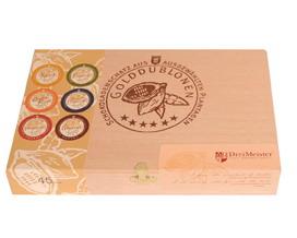 Golddublonen 45 Stück im Holzkästchen Vollmilchschokolade und Zartbitterschokolade Dreimeister, Ihre Genuss-Agentur