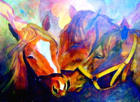 Kunstkarten Pferde, 3 Pferdeköpfe, art-cavallo
