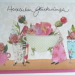 Hochwertige Grußkarten mit Umschlag, Herzlichen Glückwunsch Blumenmotiv, Genuss-Agentur