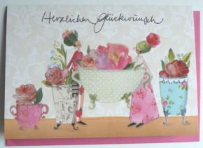 Hochwertige Grußkarte mit Umschlag, Herzlichen Glückwunsch Blumenmotiv, Genuss-Agentur