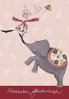 Grußkarte Herzlichen Glückwunsch Elefant, Ihre Genuss-Agentur