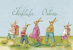 Grußkarte Fröhliche Ostern Hasenfamilie, Ihre Genuss-Agentur