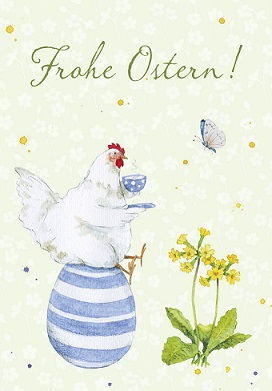 Grußkarte Ostern Glückliches Huhn, Ihre Genuss-Agentur