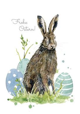 Grußkarte Ostern Hase mit Eiern, Ihre Genuss-Agentur