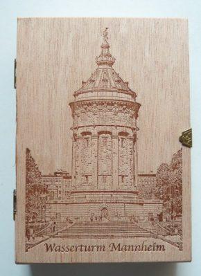 Schokolade Mannheimer Wasserturm-Taler im Holzkistchen