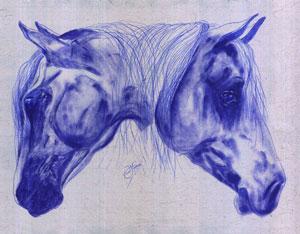 Kunstkarten Pferde, Pferdekopf blau, art-cavallo